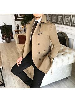 Terzi Adem 3612 İtalyan Stil Slim Fit Mevsimlik Erkek Trençkot Mont Bej T4978